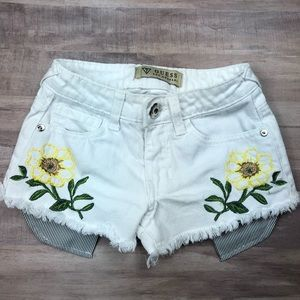 Guess Kids Floral White Denim Shorts
